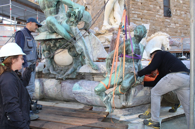 Restoration continues for Florence's Neptune Fountain