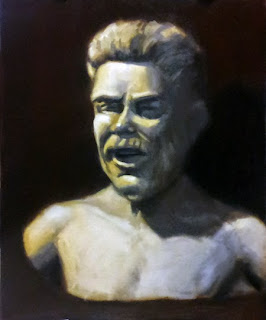 Oil painting of a plaster cast of a bearded man's head and torso.