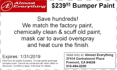 Discount Coupon $239.95 Bumper Paint Sale January 2019