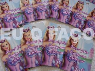festa barbie o lago do cisne, brindes, lembrancinhas, kit maquiagem, tag de agradecimento