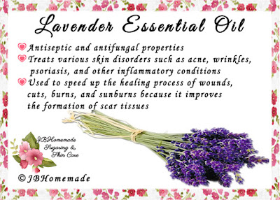 Lavender ♦Antiseptic and anti-fungal properties ♦Treats various skin disorders such as acne, wrinkles, psoriasis, and other inflammatory conditions ♦Used to speed up the healing process of wounds, cuts, burns, and sunburns because it improves the formation of scar tissues