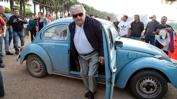 Jose Mujica A President who still drives his 30 year old car to work even today, even famously stopping to help hitch-hikers along the way.