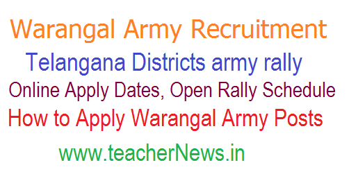Warangal army rally 2018 Online Apply Open Army Rally Recruitment Schedule in Telangana