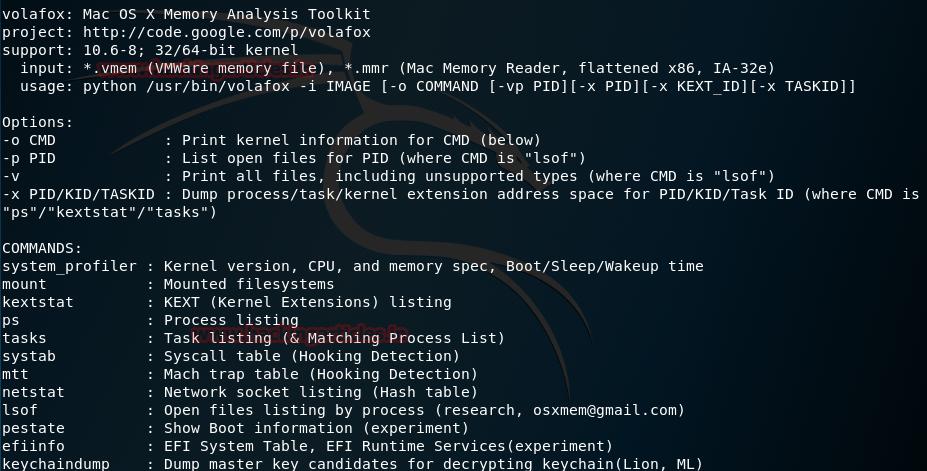 Volafox Kali Linux forensic tool