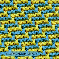 Slipped stitch pattern in two colours: Staircase stitch. Free written instructions!