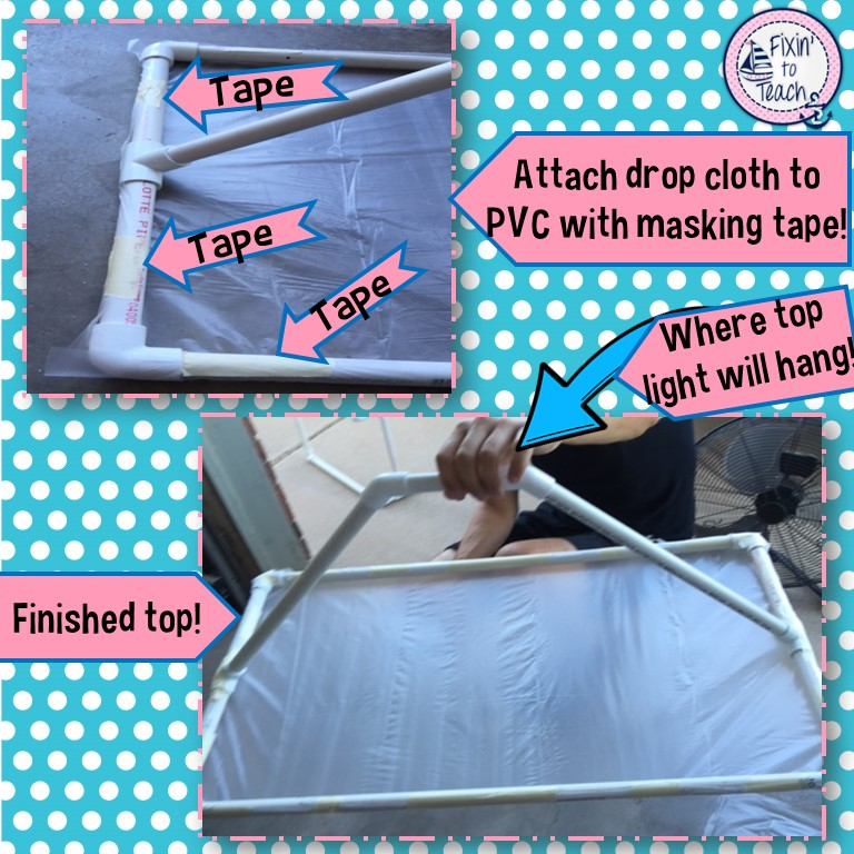 make sure you leave a lip so youu0027ll have something to attach the tape to when you secure the drop cloth to the pvc pipe as shown in this photo below