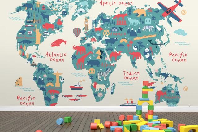Tapet världskarta barn barntapet fototapet barnrum