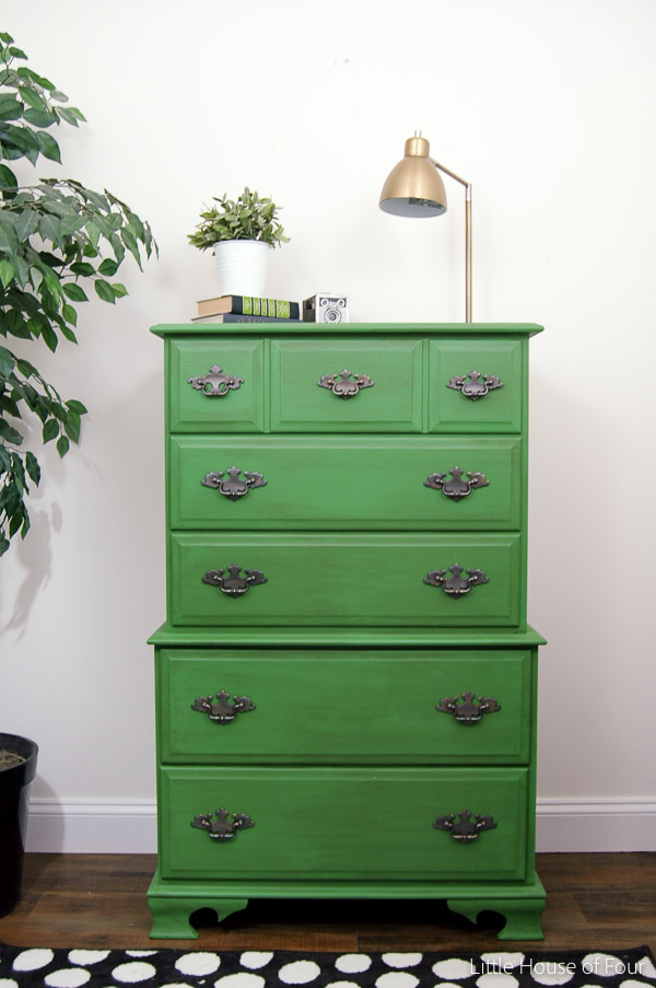 Bright emerald green dresser makeover