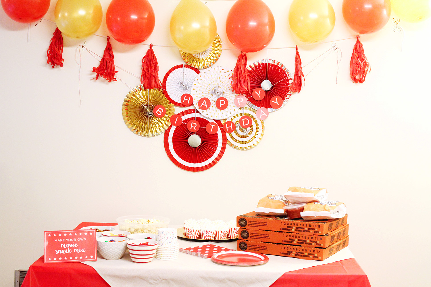 This popcorn and movie birthday party is perfect for tweens and teens! Simple and easy decorations, food, and fun!