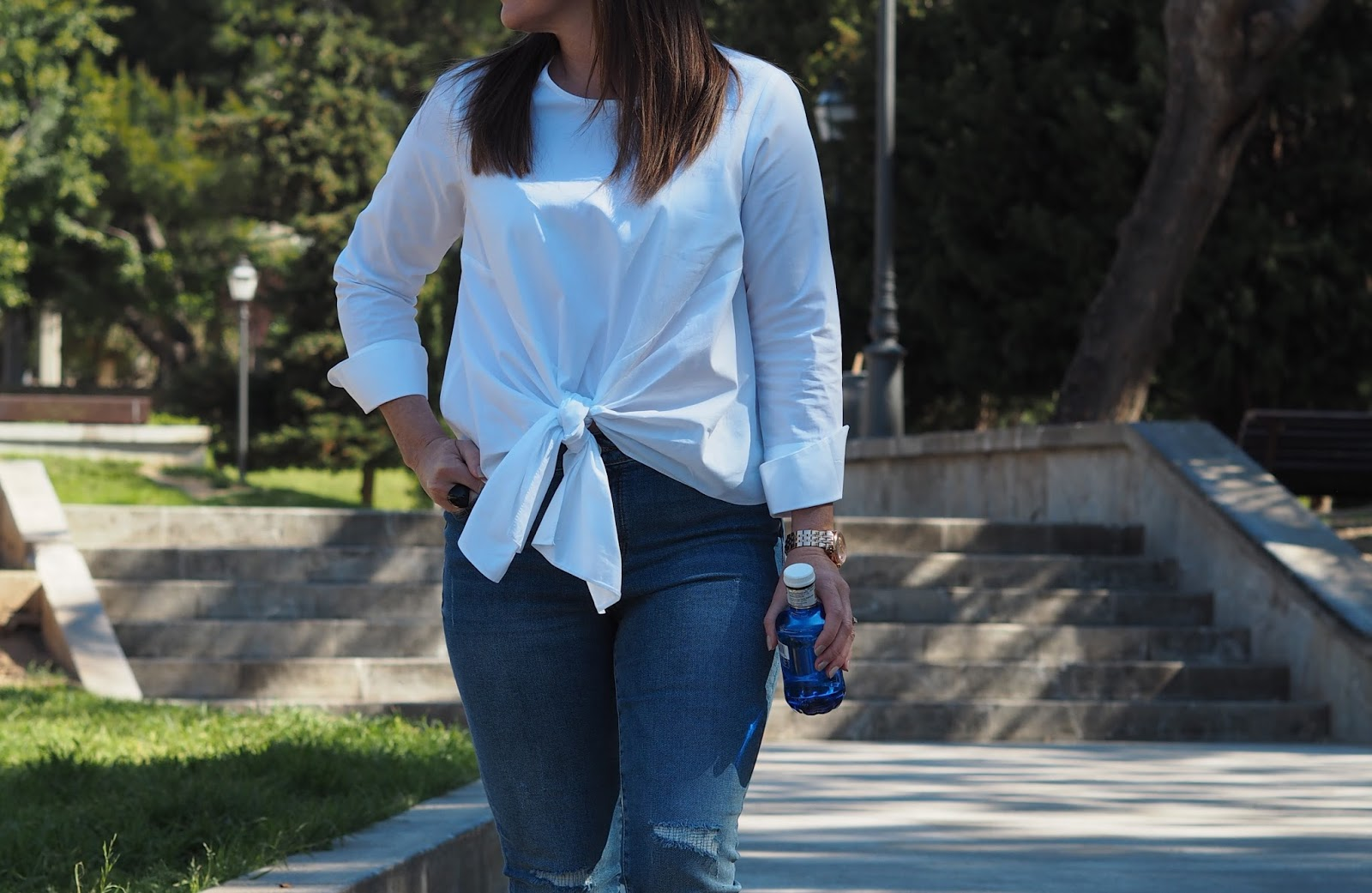 New Look petite white tie front poplin top M&S ripped skinny jeans spring style fashion trend outfit Priceless Life of Mine over 40 lifestyle blog