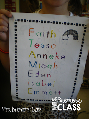 EDITABLE rainbow writing activity to practice student names!