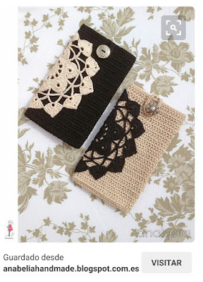 funda de movil de crochet con aplicacion