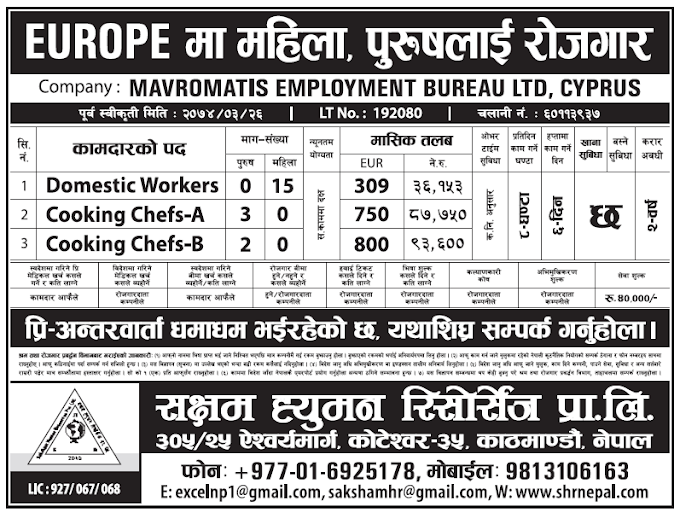 Jobs in Europe for Nepali, Salary Rs 93,600