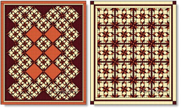 Quilts designed using the WEST VIRGINIA quilt block - images © Wendy Russell