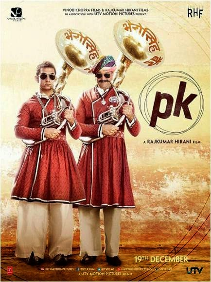 Aamir Khan and Sanjay Dutt standing as band members in PK movie poster