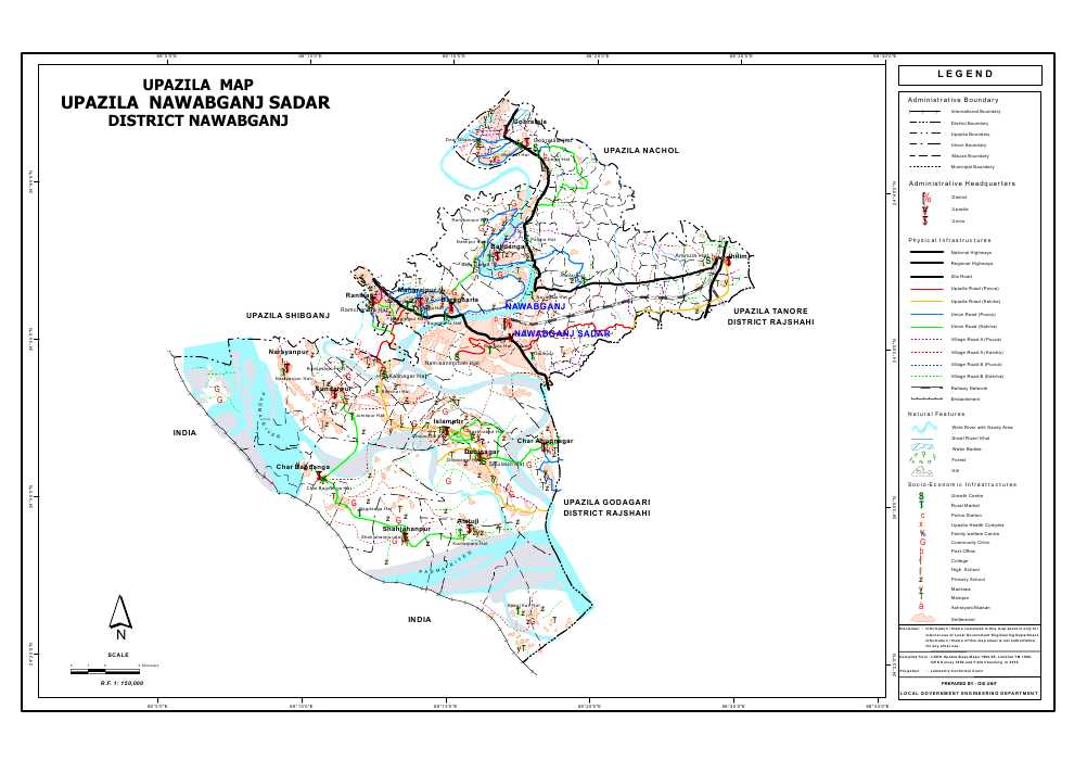 Nawabganj Sadar Upazila Map Nawabganj District Bangladesh