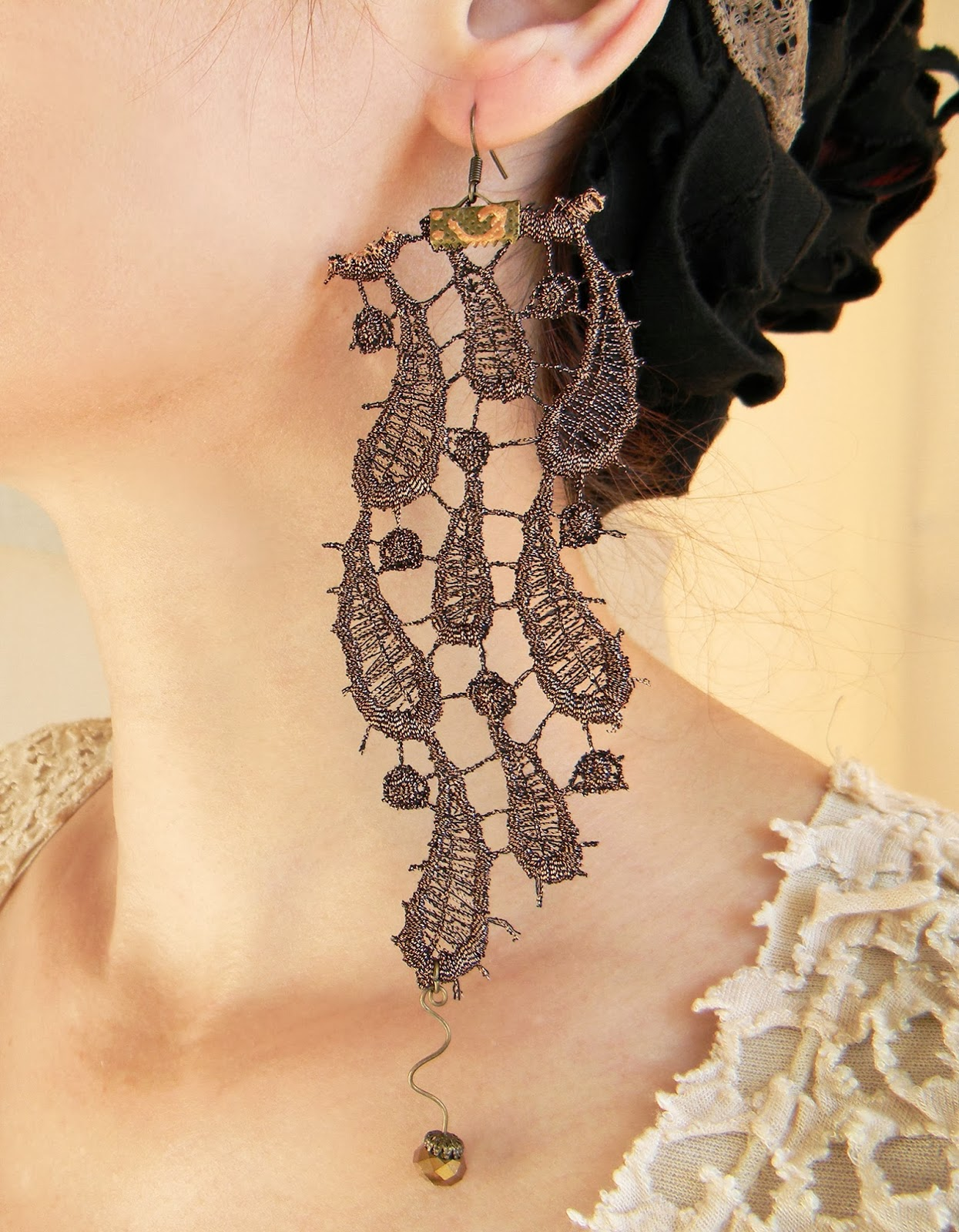 Floral Lace Earrings Baroque Art Nouveau Jewelry Fashion Earrings