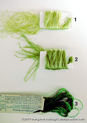 Antique green silk for violet leaves. (Society Silk Violets)