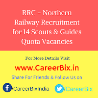 RRC – Northern Railway Recruitment for 14 Scouts & Guides Quota Vacancies