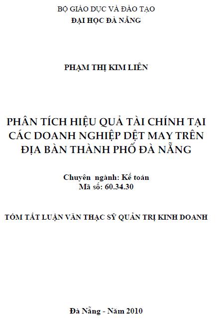 Phân tích hiệu quả tài chính các doanh nghiệp dệt may trên địa bàn thành phố Đà Nẵng
