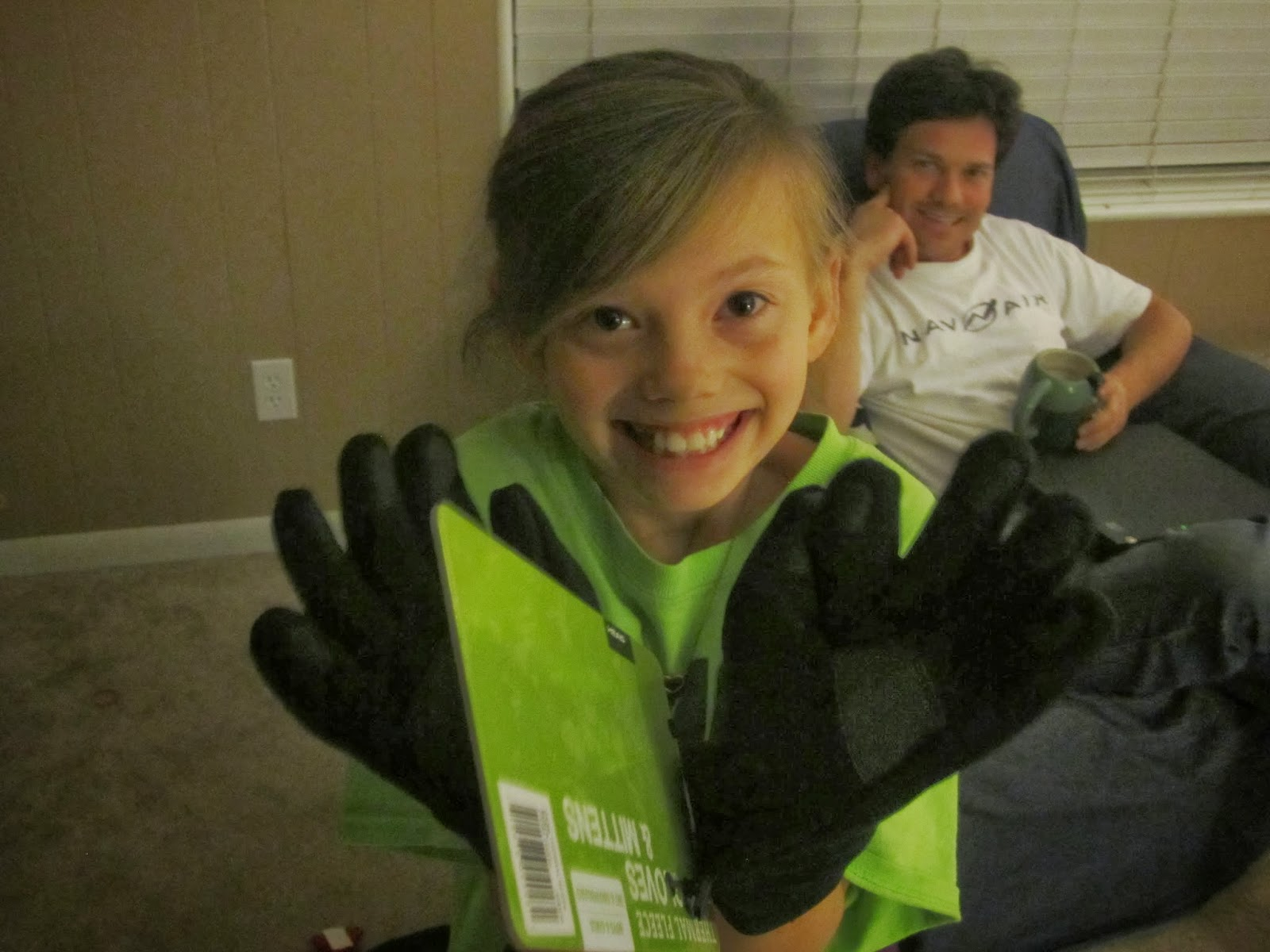 girl smiling, gloves
