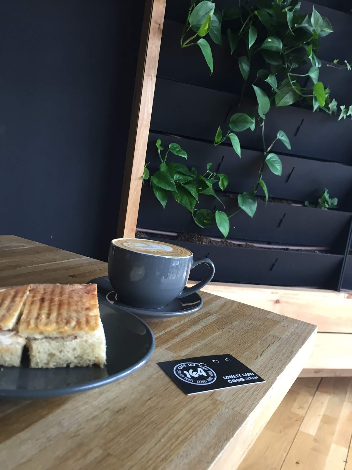 plants and coffee at cafe 164 in Leeds
