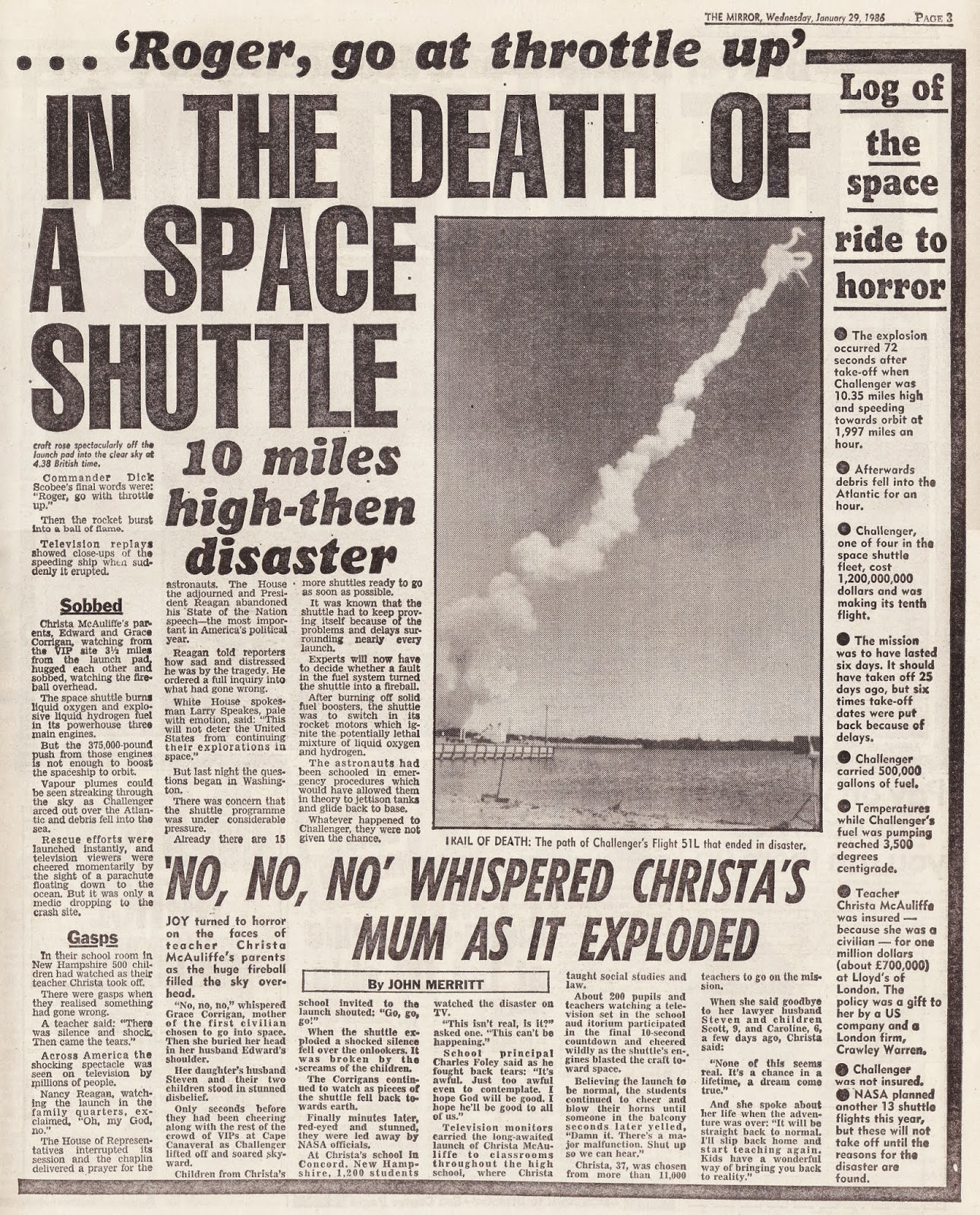 space shuttle challenger newspaper article - photo #19