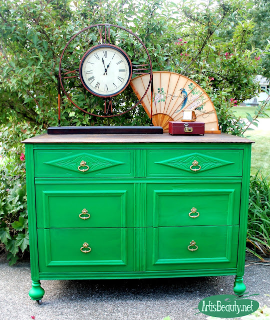 general finishes emerald green  boho chic dresser makeover before and after roadside rescue water based milk paint