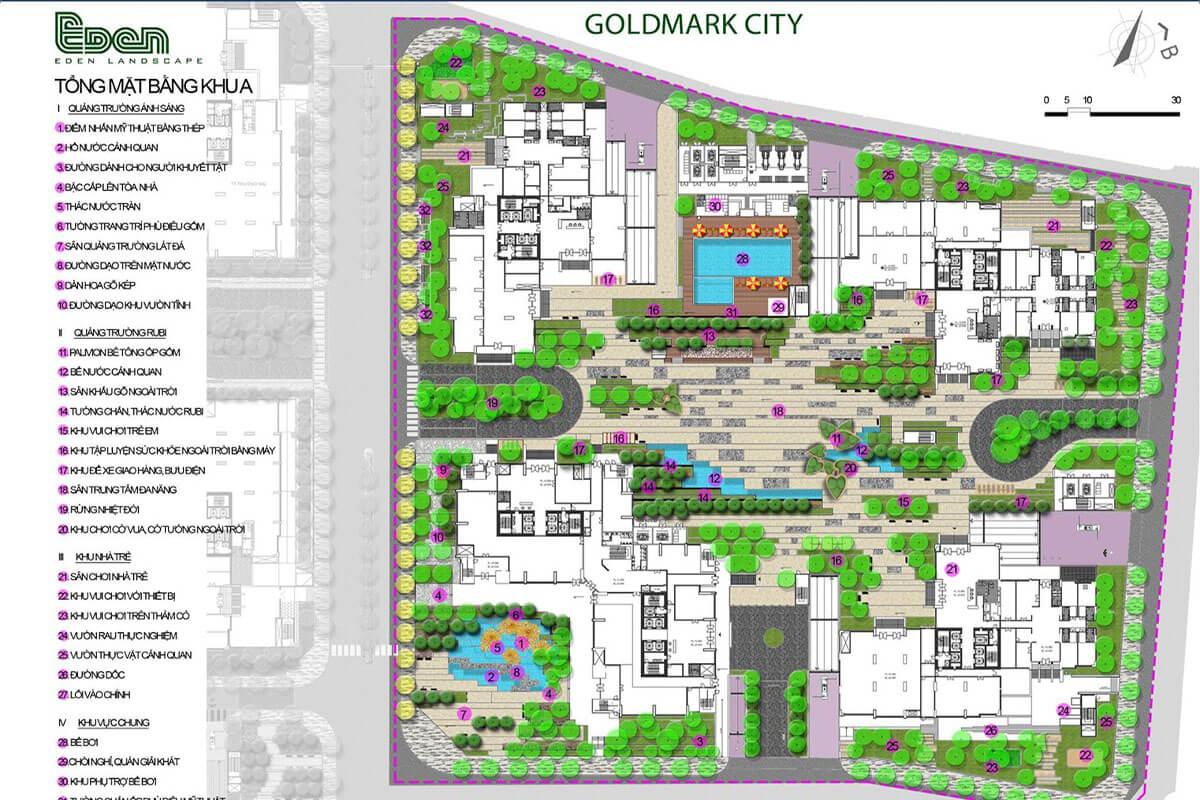 Mô hình tổng quan khu A dự án tnr Goldmark City 136 Hồ Tùng Mậu