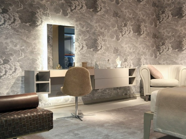 ultra modern dressing table ideas - wall mounted with mirror lights