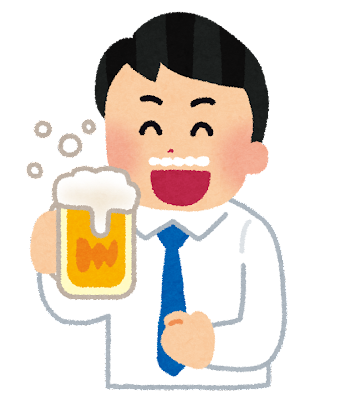 美味しそうにビールを飲む人のイラスト(男性)