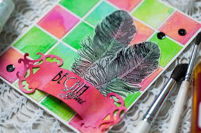 штампы для скрапа, перья, открытка о весне, квадратики, шов машинкой на открытке