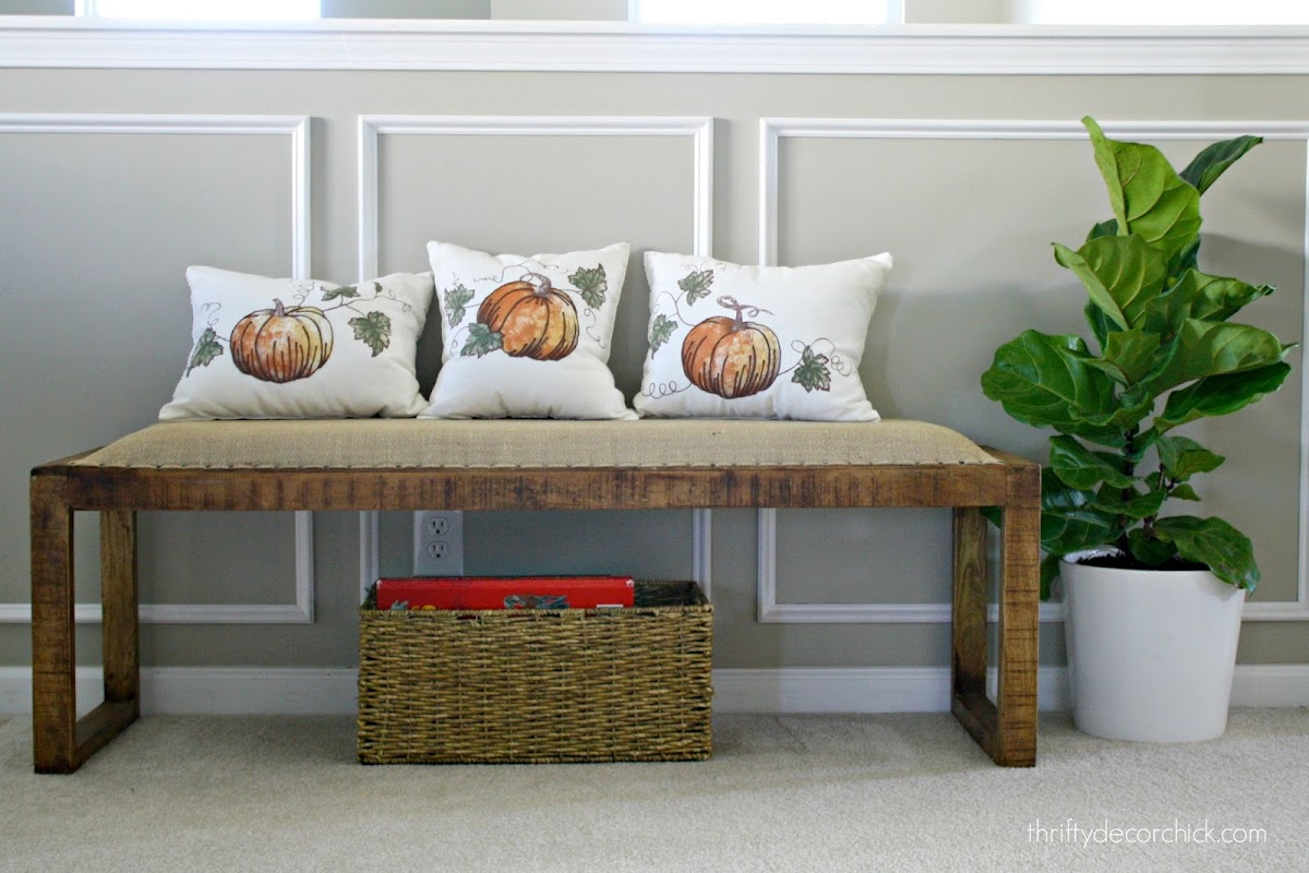 seasonal pillows from table linens