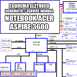 Esquema Elétrico Notebook Acer Aspire 3680 Manual de Serviço  Service Manual schematic Diagram Notebook Acer Aspire 3680    Esquematico Notebook Acer Aspire 36800