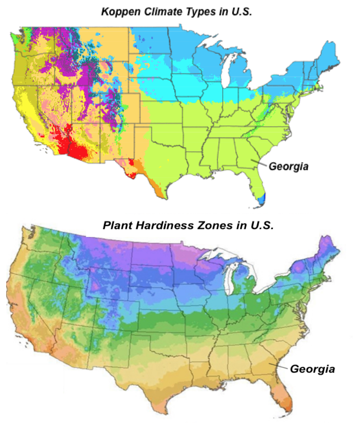 top showing the differences in the koeppen climate types in the u s bottom plant hardiness map showing that plants in georgia along the 31 32o