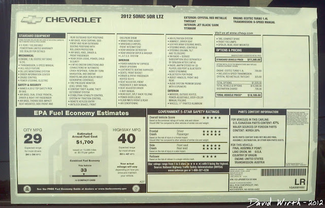 2102 chevrolet sonic, window price list, sticker, options