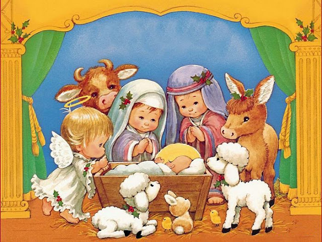 Resultado de imagen de postales del niño jesús en el pesebre