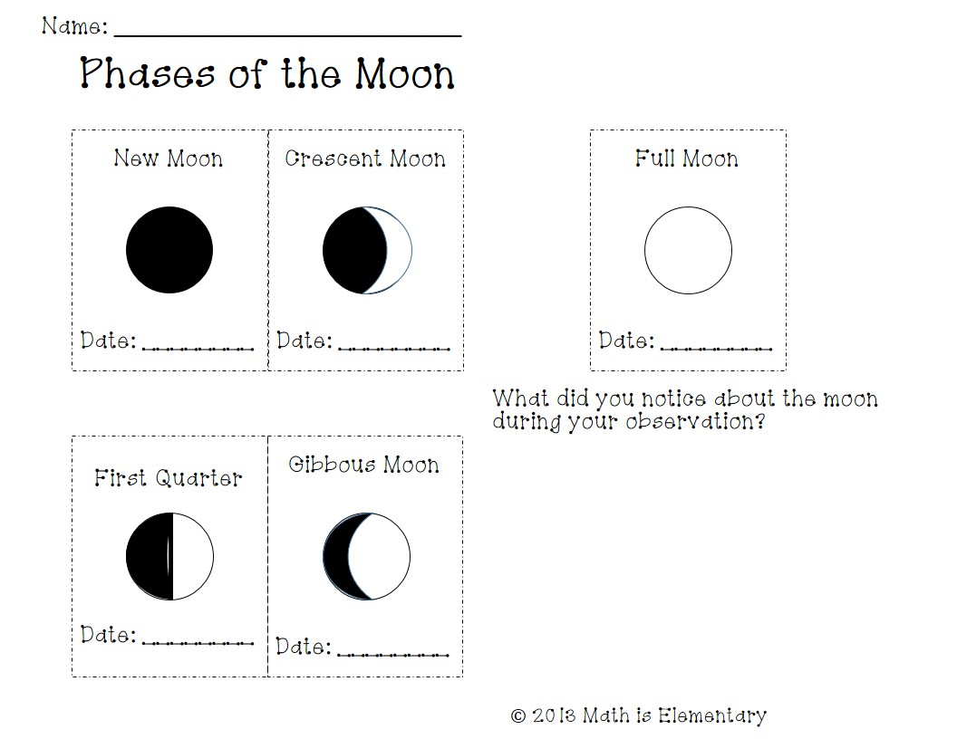 printable worksheets moon phases - HD1056×816