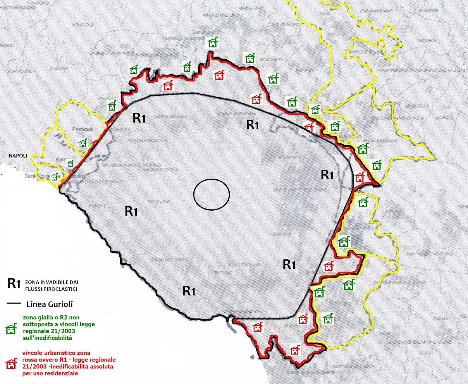 Il Vesuvio accerchiato dalla conurbazione. La zona d'inedificabilità assoluta potrebbe rimanere, in assenza d'interventi legislativi, la sola zona R1