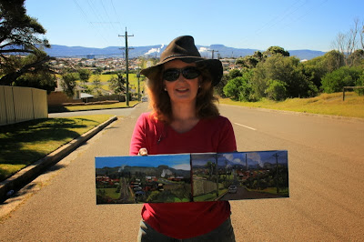 plein air painting of the Port Kembla Copper Stack by industrial heritage artist Jane Bennett