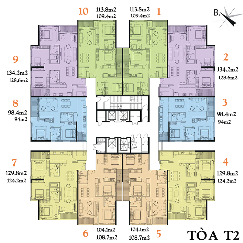 Mặt bằng tòa T2 chung cư số 3 Lương Yên