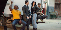 Krysten Ritter, Finn Jones, Charlie Cox and Mike Colter on the set of The Defenders Series (12)