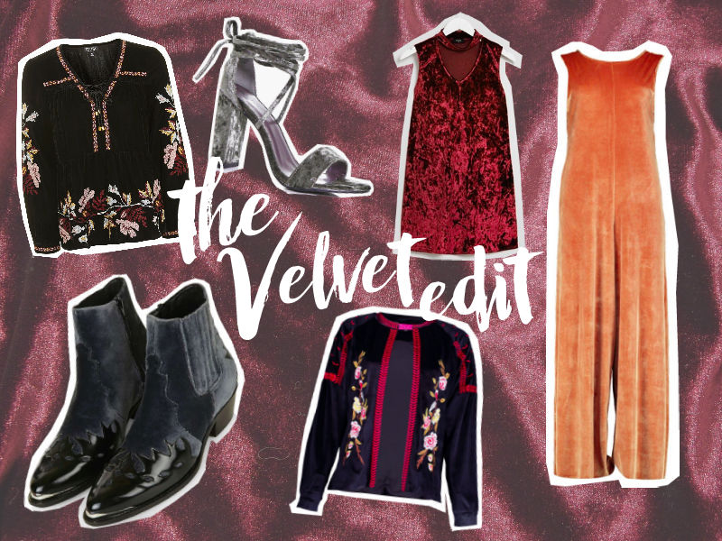 The Gypsy Flower top six pieces currently available within the velvet trend.