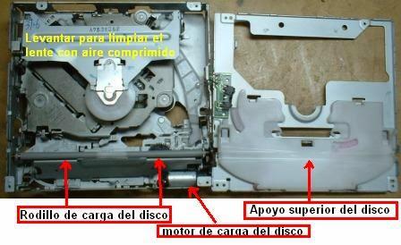 Mecanismo de la reproductora de disco Sony para autos ya desarmado para someter esta a limpieza del rodillo de carga-descarga del disco