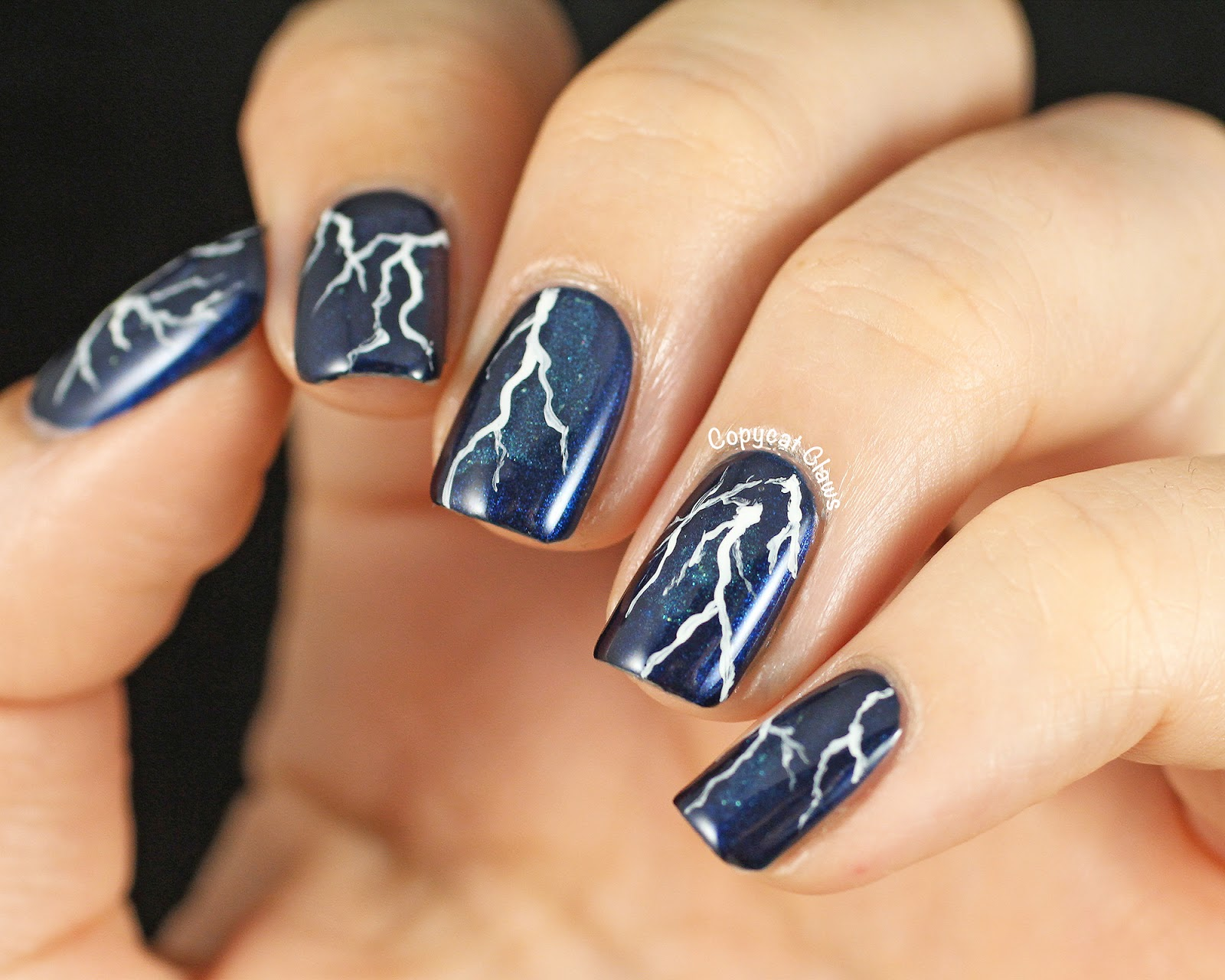 Copycat Claws Lightning Nail Art Picture Polish Electric Blue Then I Painted On Some Simple