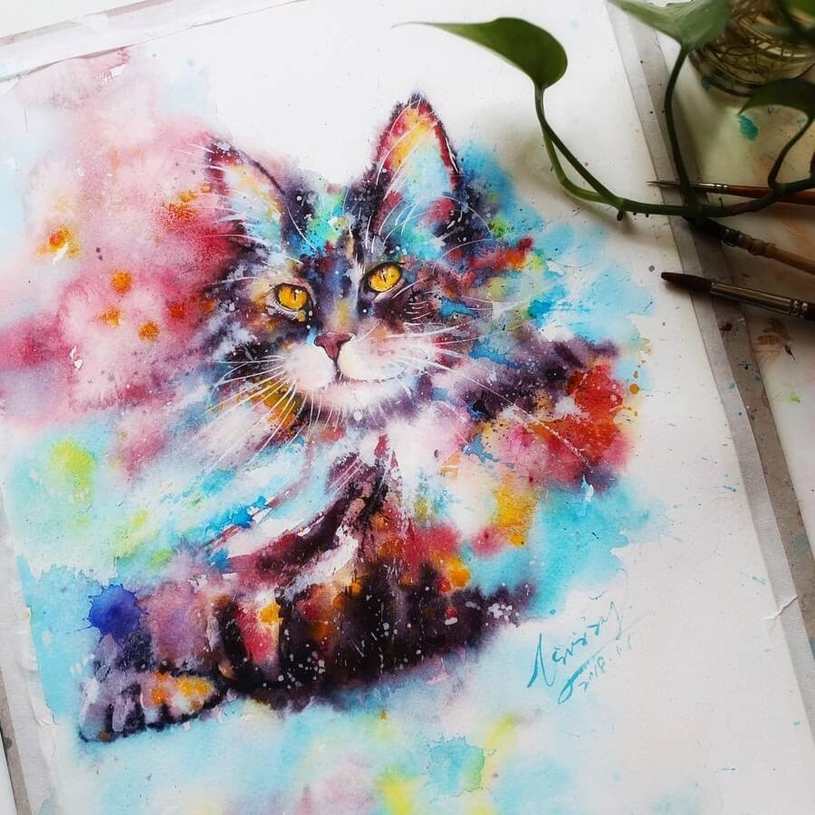 10-Cat-Watercolor-Paintings-liviing-www-designstack-co
