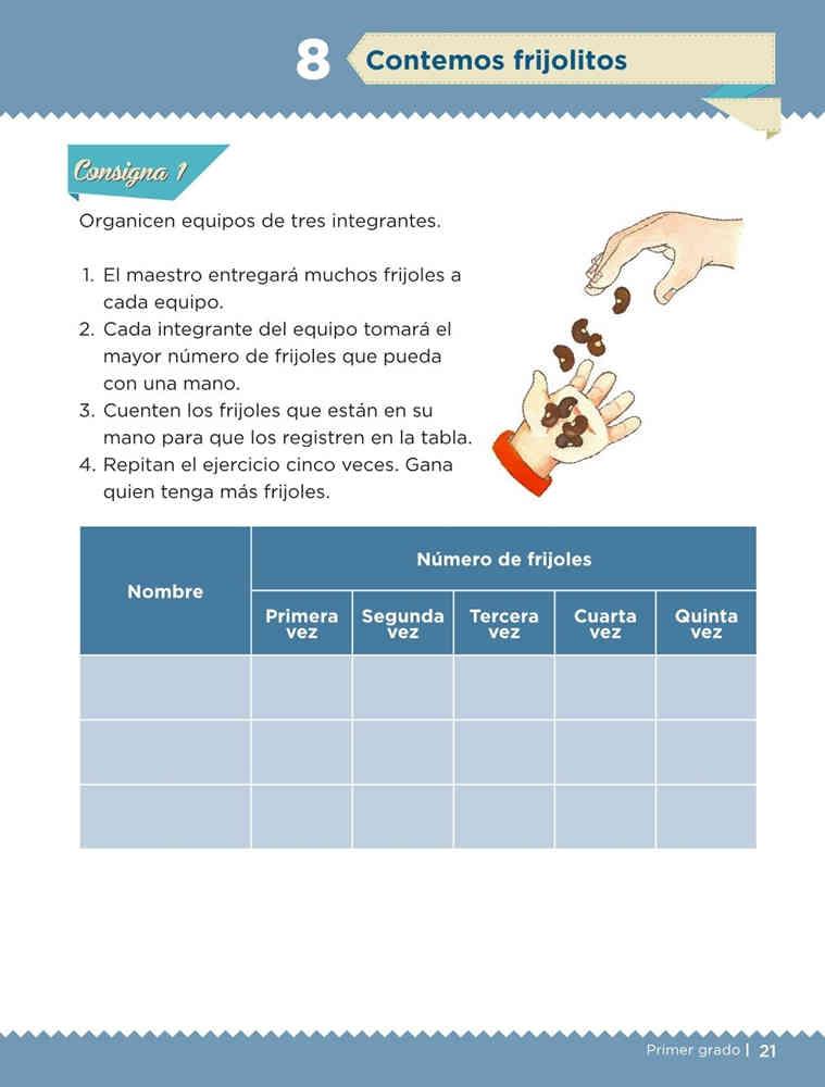 Contemos frijolitos - Desafío 8 - Desafíos Matemáticos primer grado