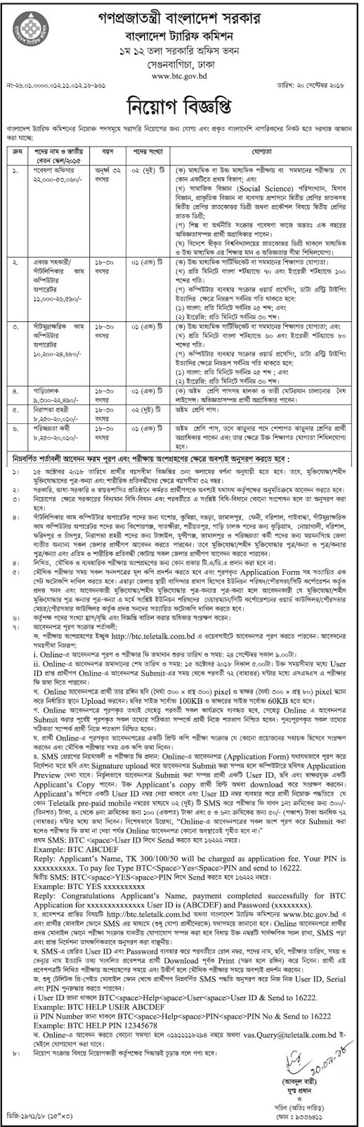 Bangladesh Tariff Commission (BTC) Job Circular 2018
