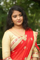 Akshara in Red Saree Golden Choli at LV Movie Makers Production No 1 Movie Opening ~  Exclusive 048.JPG