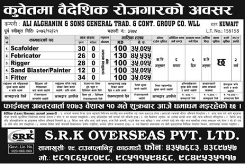 Jobs For Nepali In Kuwait,  Salary -Rs.45,535/